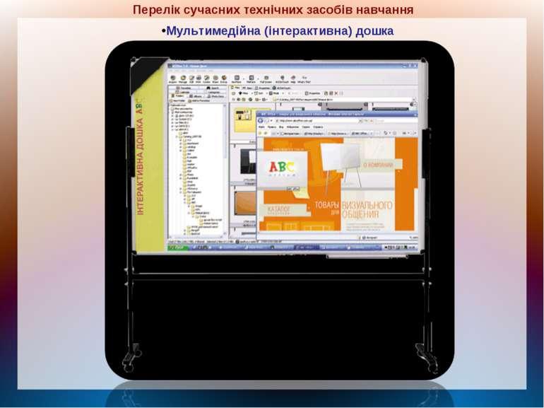 Перелік сучасних технічних засобів навчання Мультимедійна (інтерактивна) дошка