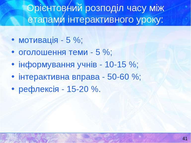 Орієнтовний розподіл часу між етапами інтерактивного уроку: мотивація - 5 %; ...