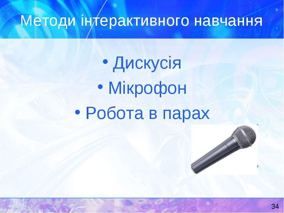 Методи інтерактивного навчання Дискусія Мікрофон Робота в парах