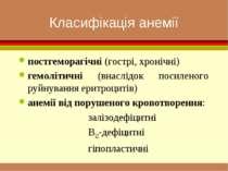 Класифікація анемії постгеморагічні (гострі, хронічні) гемолітичні (внаслідок...