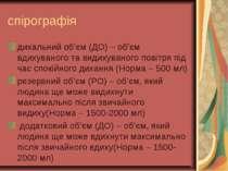 спірографія дихальний об'єм (ДО) – об'єм вдихуваного та видихуваного повітря ...