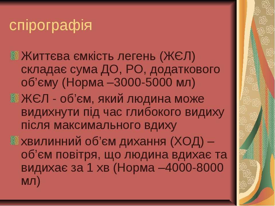 спірографія Життєва ємкість легень (ЖЄЛ) складає сума ДО, РО, додаткового об'...