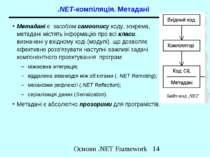 .NET-компіляція. Метадані Метадані є засобом самоопису коду, зокрема, метадан...