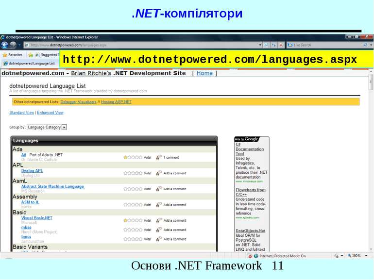 .NET-компілятори http://www.dotnetpowered.com/languages.aspx Основи .NET Fram...