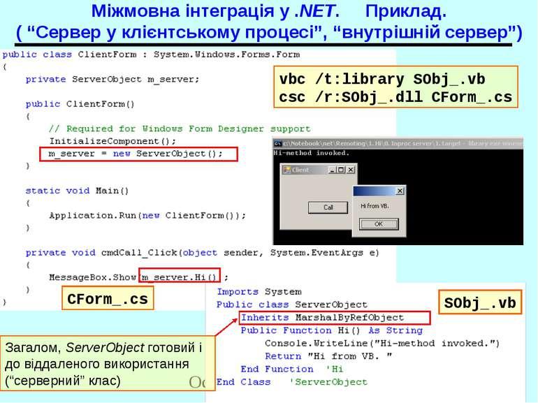 """Міжмовна інтеграція у .NET. Приклад. ( """"Сервер у клієнтському процесі"""", """"внут..."""