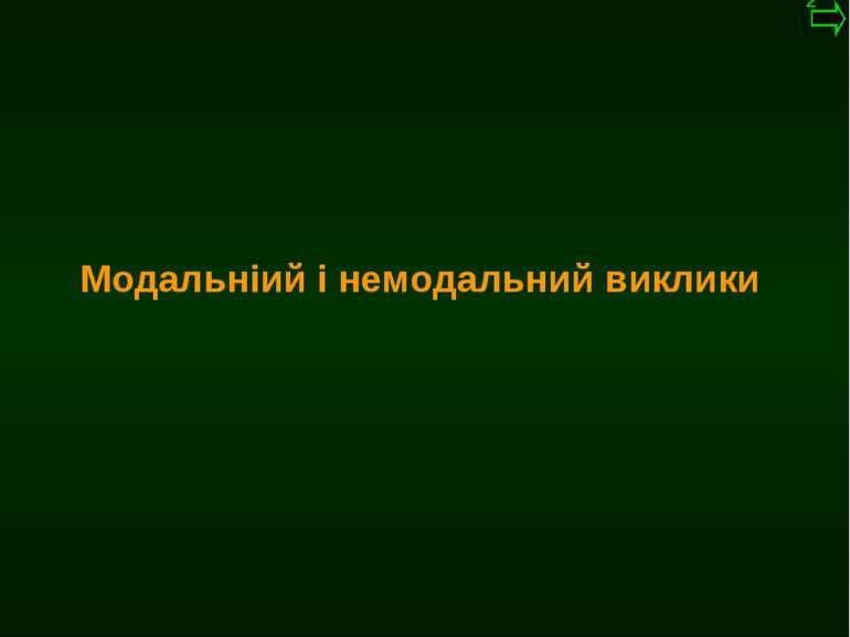 М.Кононов © 2009 E-mail: mvk@univ.kiev.ua Модальніий і немодальний виклики *