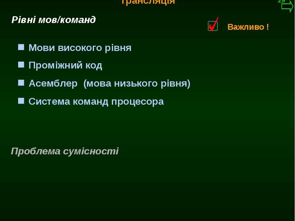 М.Кононов © 2009 E-mail: mvk@univ.kiev.ua Трансляція Система команд процесора...