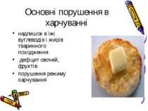 Основні порушення в харчуванні надлишок в їжі вуглеводів і жирів тваринного п...
