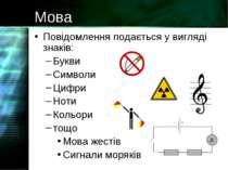 Мова Повідомлення подається у вигляді знаків: Букви Символи Цифри Ноти Кольор...