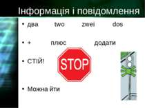 Інформація і повідомлення два two zwei dos + плюс додати СТІЙ! Можна йти