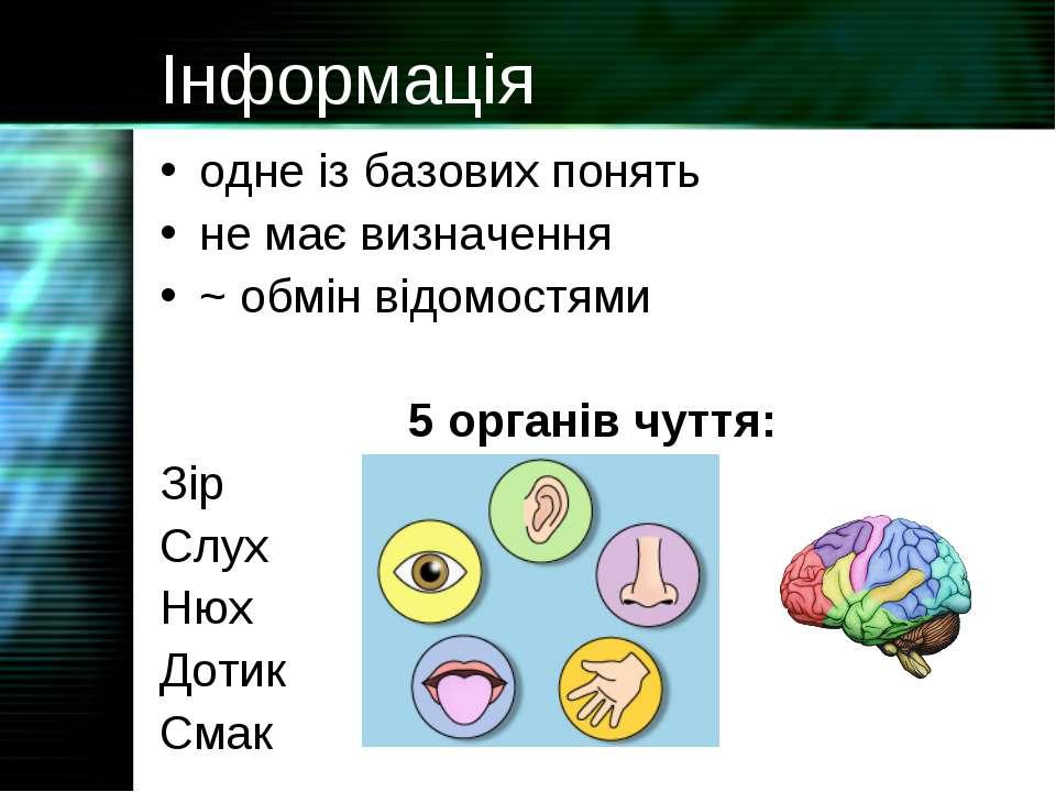 Інформація одне із базових понять не має визначення ~ обмін відомостями 5 орг...