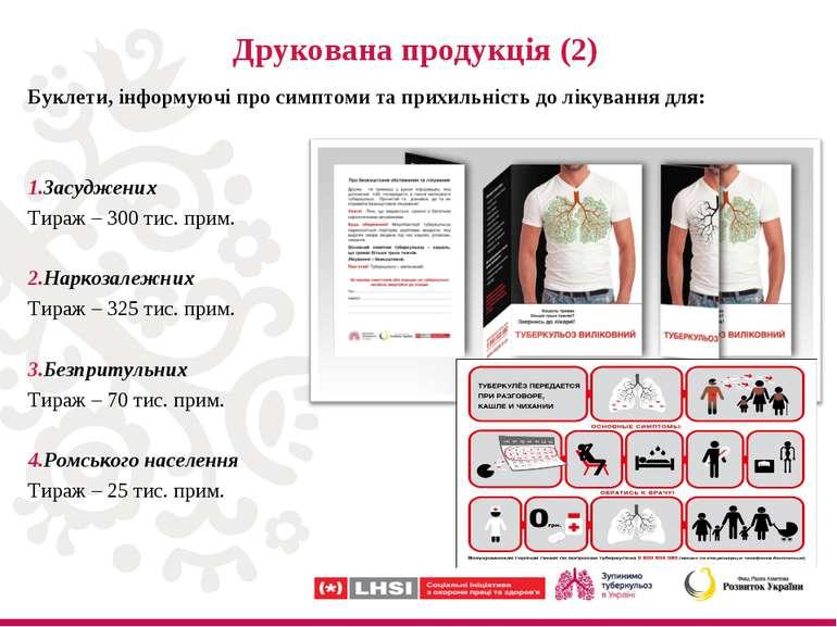 Друкована продукція (2) Буклети, інформуючі про симптоми та прихильність до л...