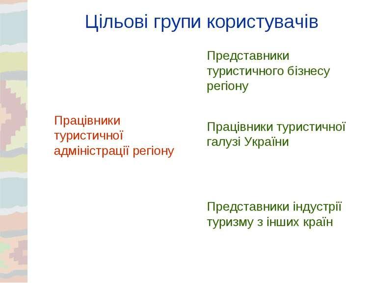 Цільові групи користувачів Працівники туристичної адміністрації регіону Предс...