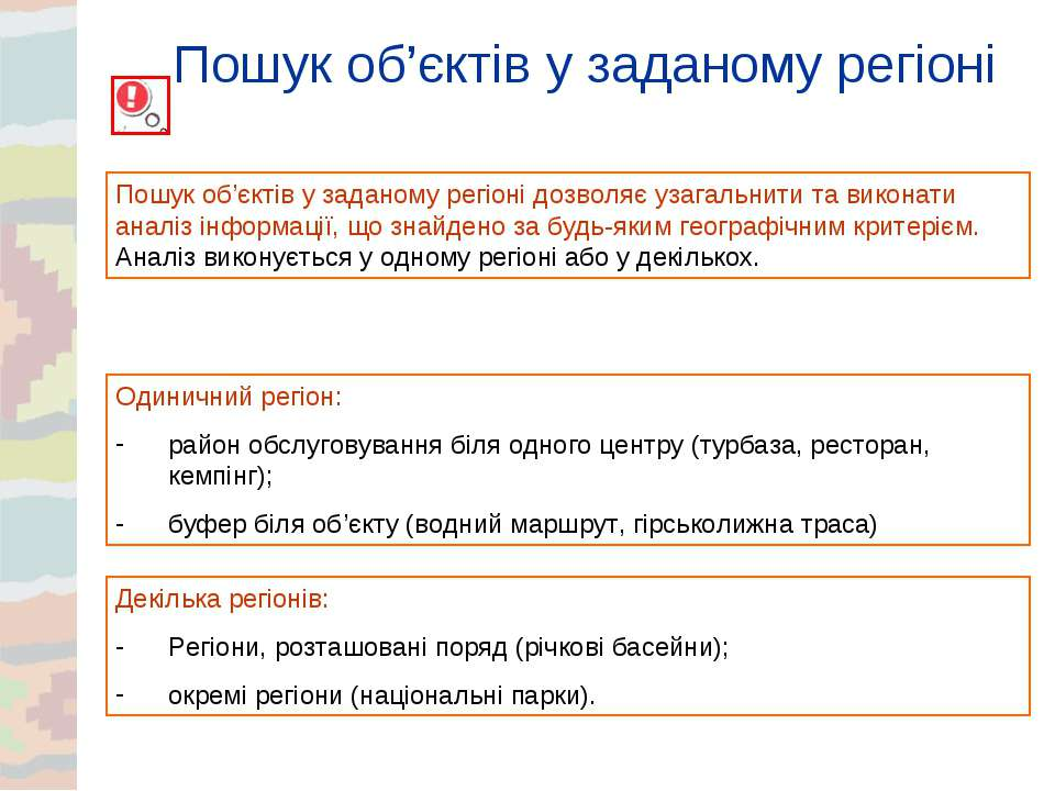 Пошук об'єктів у заданому регіоні Пошук об'єктів у заданому регіоні дозволяє ...