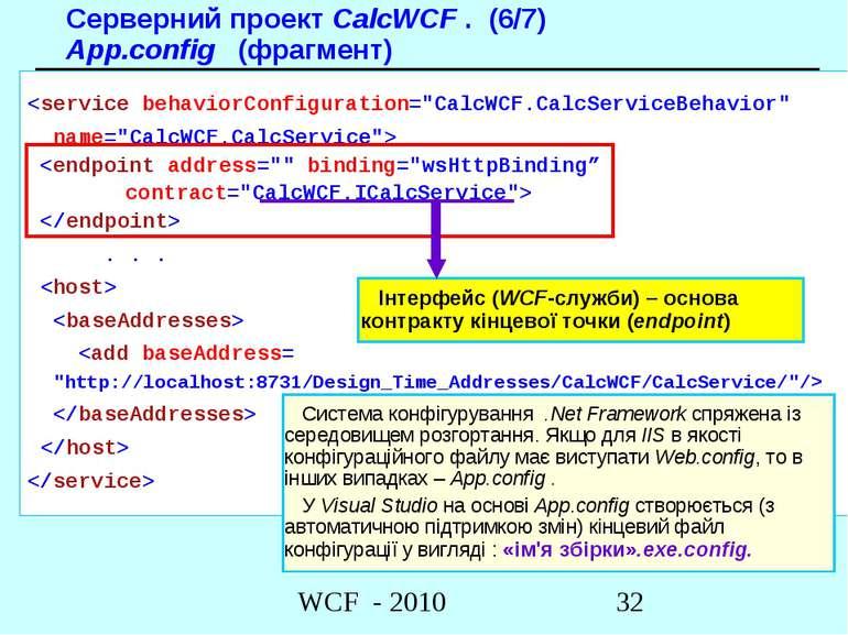 Серверний проект CalcWCF . (6/7) App.config (фрагмент)