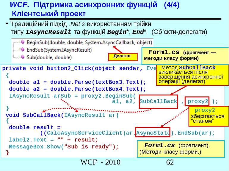 WCF. Підтримка асинхронних функцій (4/4) Клієнтський проект Традиційний підхі...