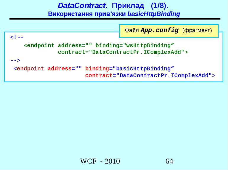 DataContract. Приклад (1/8). Використання прив'язки basicHttpBinding