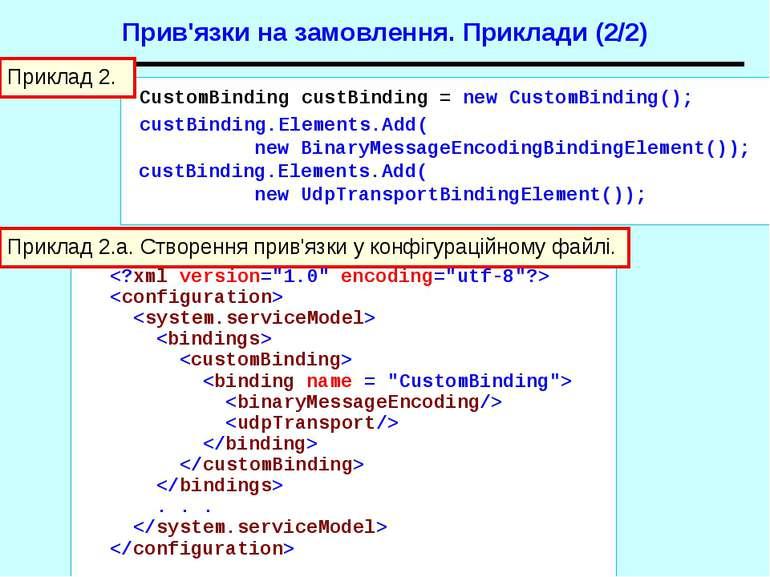 . . . Приклад 2.a. Створення прив'язки у конфігураційному файлі. CustomBindin...