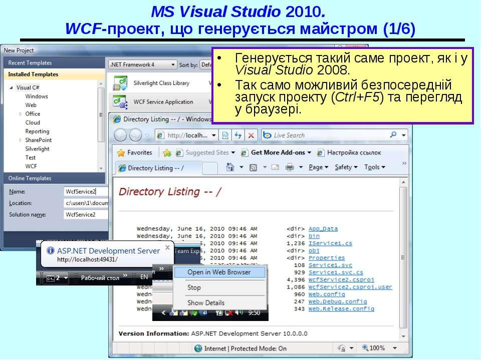 MS Visual Studio 2010. WCF-проект, що генерується майстром (1/6) Генерується ...