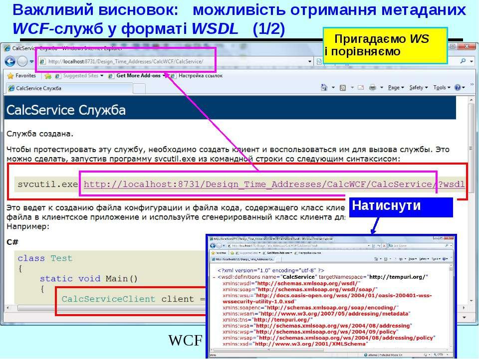 Важливий висновок: можливість отримання метаданих WCF-служб у форматі WSDL (1...