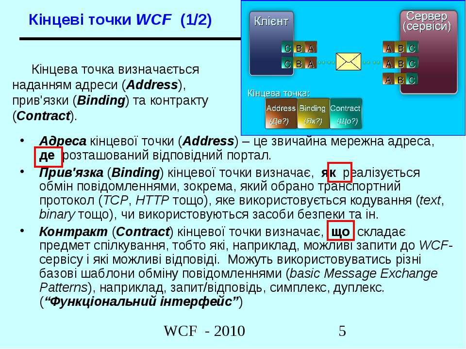 Адреса кінцевої точки (Address) – це звичайна мережна адреса, де розташований...