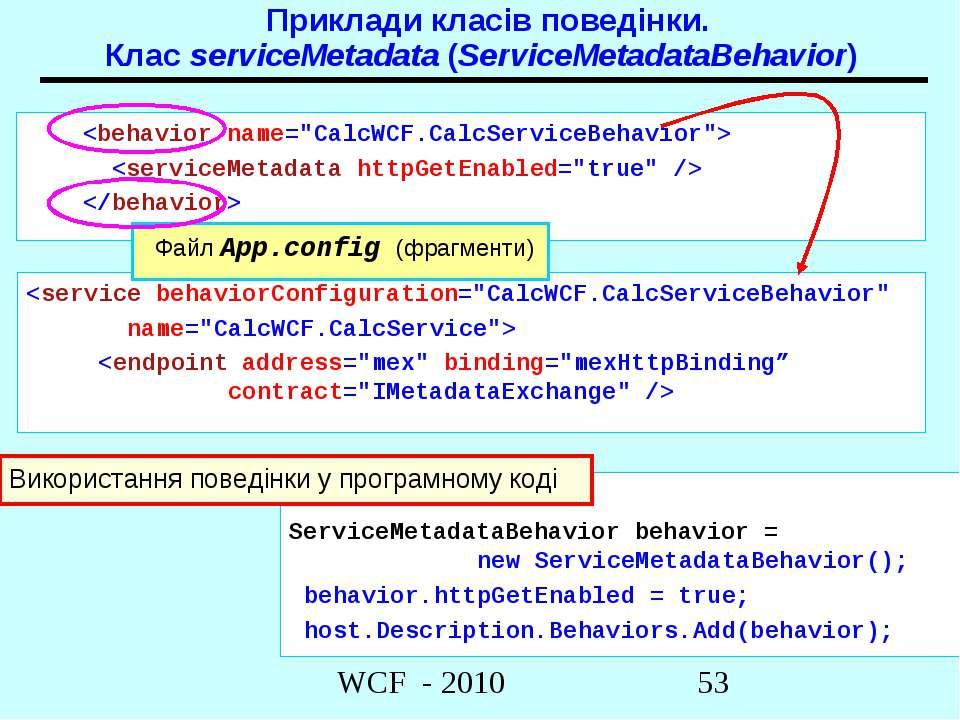 Приклади класів поведінки. Клас serviceMetadata (ServiceMetadataBehavior)
