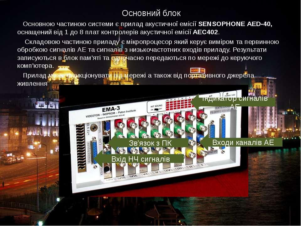Основний блок Основною частиною системи є прилад акустичної емісії SENSOPHONE...