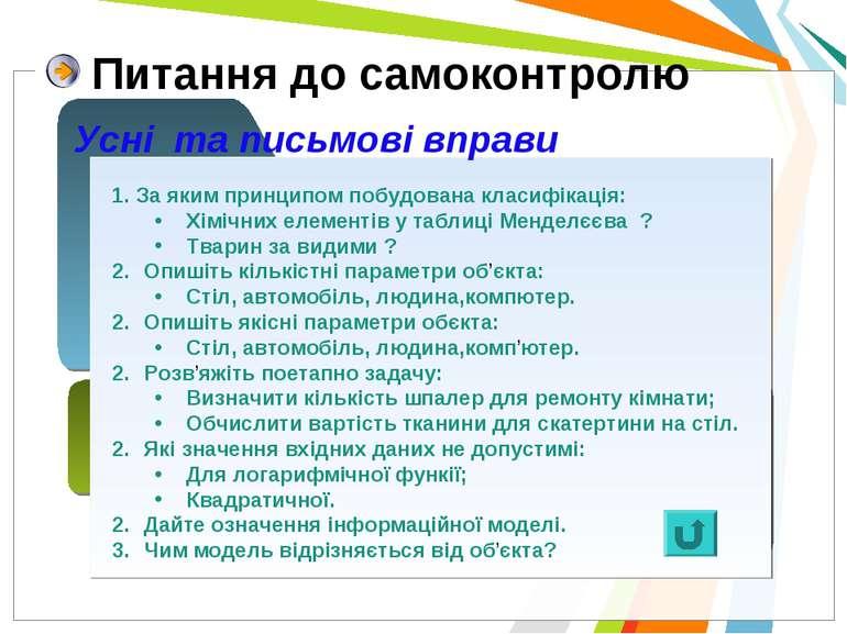 Питання до самоконтролю Усні та письмові вправи 1. За яким принципом побудова...