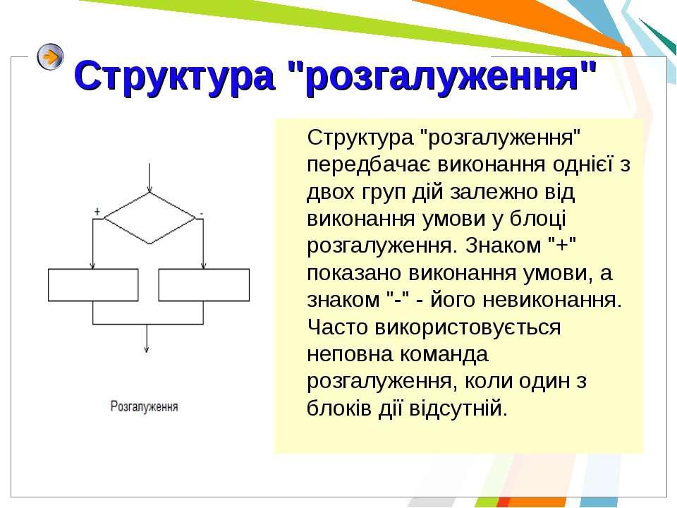"""Структура """"розгалуження"""" Структура """"розгалуження"""" передбачає виконання однієї..."""
