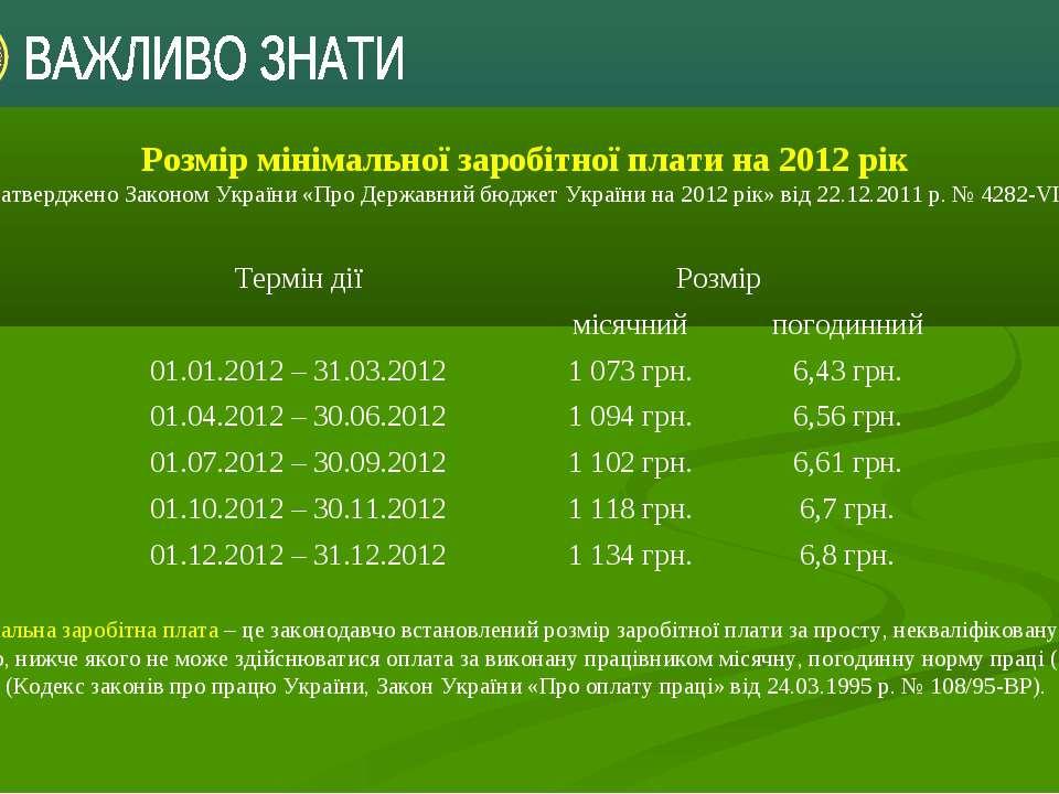 Розмір мінімальної заробітної плати на 2012 рік затвердженоЗаконом України «...