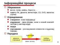 * Інформаційні процеси Збереження мозок, папір, камінь, береста, … память ПК,...