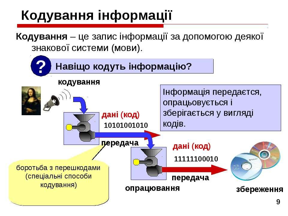 * Кодування інформації Кодування – це запис інформації за допомогою деякої зн...