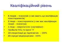Кваліфікаційний рівень 6 лікарів – психіатрів (з них мають ще кваліфікацію пс...