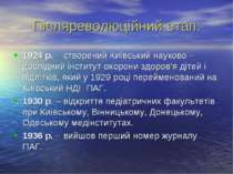 Післяреволюційний етап: 1924 р. – створений Київський науково – дослідний інс...
