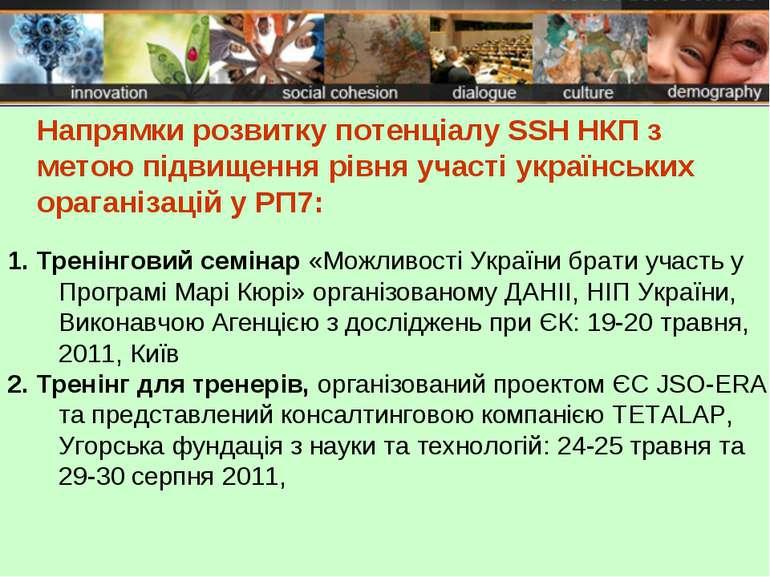Напрямки розвитку потенціалу SSH НКП з метою підвищення рівня участі українсь...
