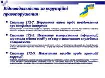 Стаття 172-7. Порушення вимог щодо повідомлення про конфлікт інтересів Непові...