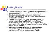 Типи даних Основні категорії типів: примітивні (прості) і вказівникові. Вказі...