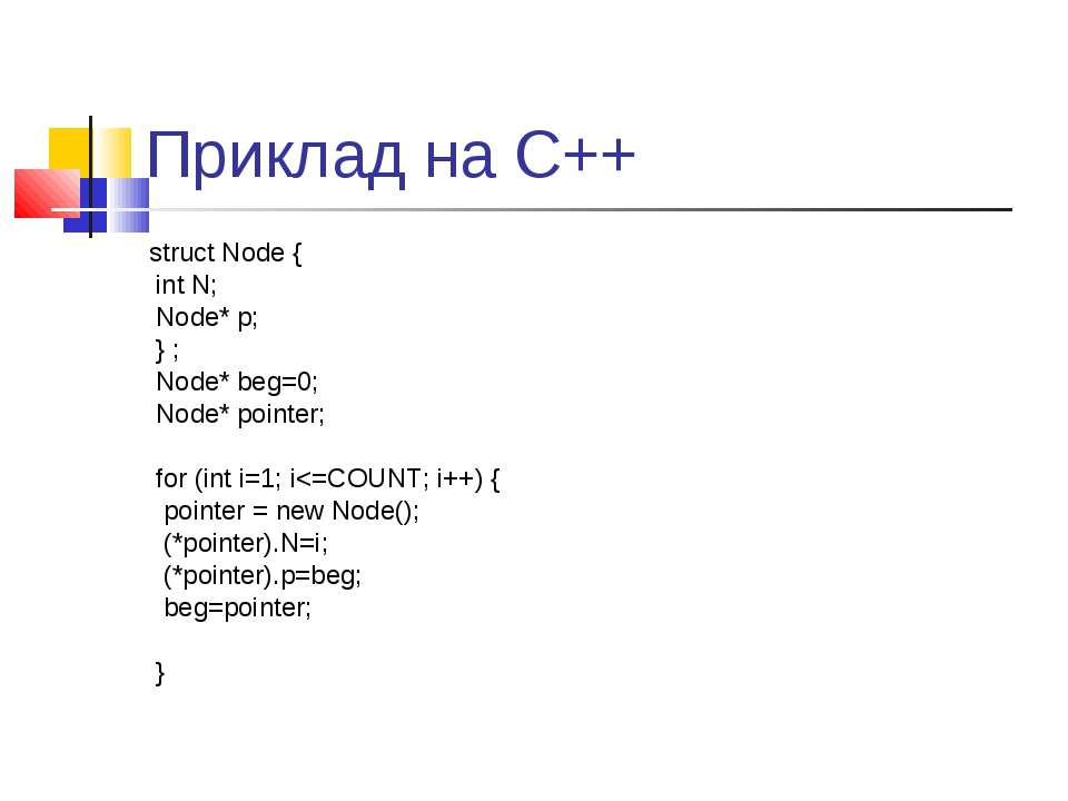Приклад на С++ struct Node { int N; Node* p; } ; Node* beg=0; Node* pointer; ...