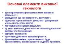 Основні елементи виховної технології 1) конкретизована (конкретна) мета вихов...