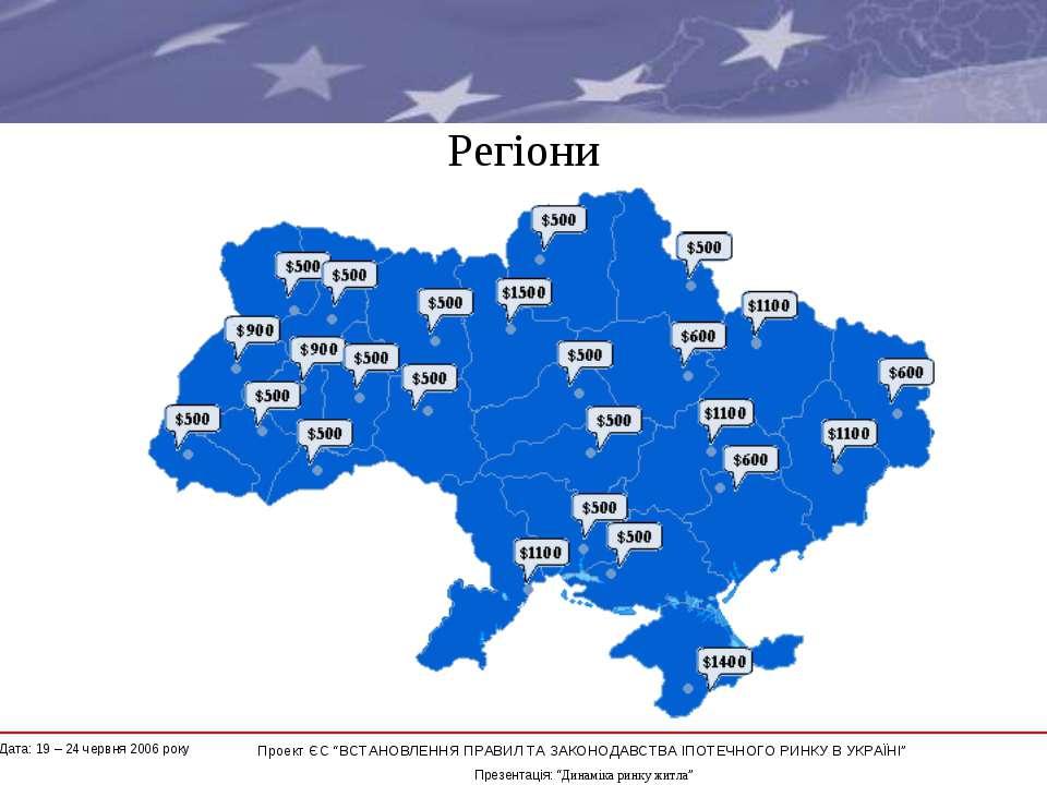 """Регіони * Проект ЄС """"ВСТАНОВЛЕННЯ ПРАВИЛ ТА ЗАКОНОДАВСТВА ІПОТЕЧНОГО РИНКУ В ..."""