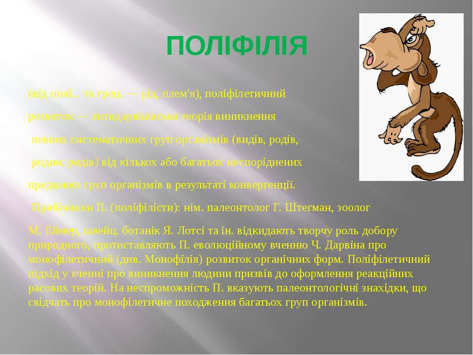 ПОЛІФІЛІЯ (від полі... та грец. — рід, плем'я), поліфілетичний розвиток — ант...