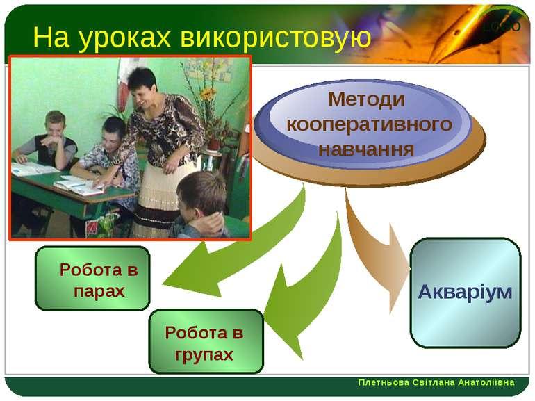 На уроках використовую Робота в парах Методи кооперативного навчання Акваріум...