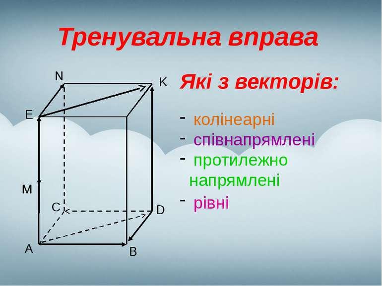 Тренувальна вправа Які з векторів: колінеарні співнапрямлені протилежно напря...