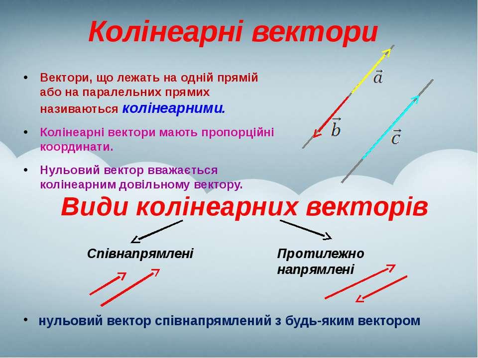 Колінеарні вектори Вектори, що лежать на одній прямій або на паралельних прям...