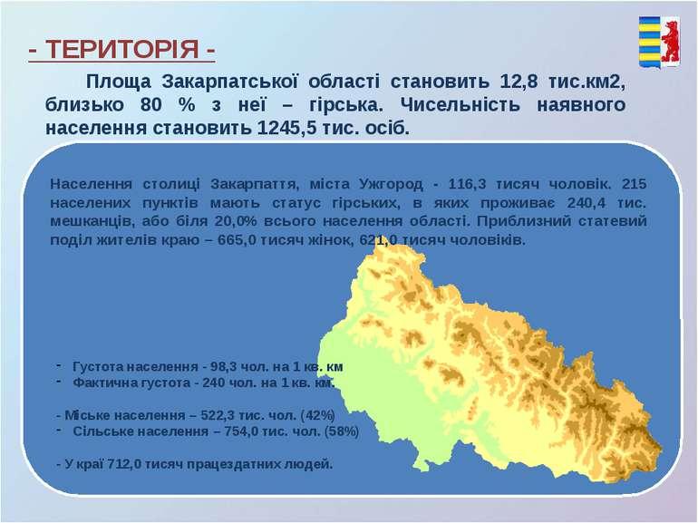 Площа Закарпатської області становить 12,8 тис.км2, близько 80 % з неї – гірс...