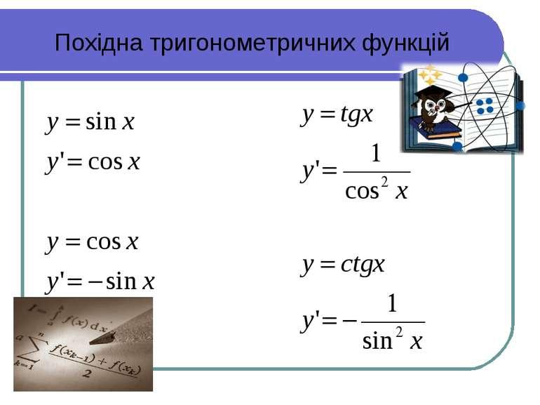 Похідна тригонометричних функцій