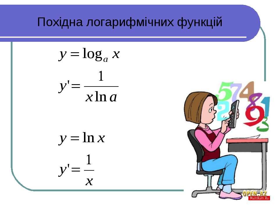 Похідна логарифмічних функцій