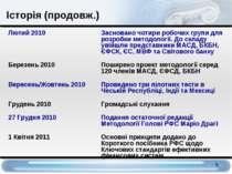 Лютий 2010 Засновано чотири робочих групи для розробки методології. До складу...