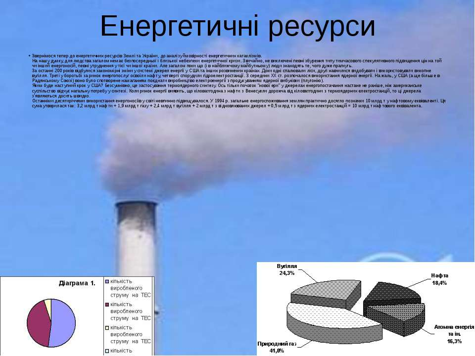 Енергетичні ресурси Звернімося тепер до енергетичних ресурсів Землі та Україн...