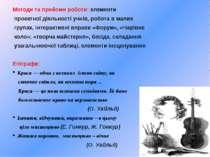 Методи та прийоми роботи: елементи проектної діяльності учнів, робота в малих...